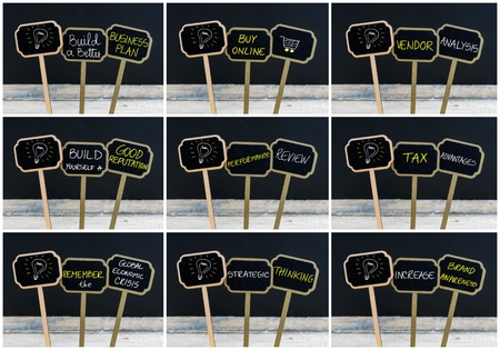 pensamiento estrategico: Photo collage of concept messages written with chalk on wooden mini blackboard labels and light bulb as symbol for idea, defocused chalkboard and wood table in background Foto de archivo