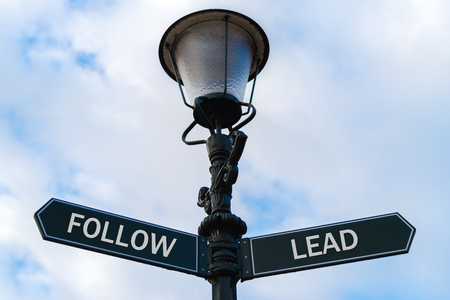 Street lighting pole with two opposite directional arrows over blue cloudy background. Follow versus Lead concept. Stock Photo