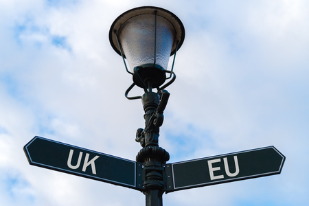 Street lighting pole with two opposite directional arrows over blue cloudy background. UK versus EU concept.