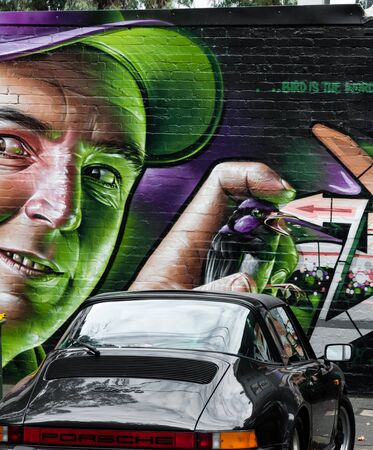 Melbourne, Australia- February 18, 2015: Colorful graffiti artwork as street art by unidentified artist. Melbourne is known as one of the worlds great street art capitals and attraction for tourists