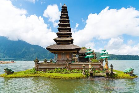 Bali, Indonesia - April 30, 2017 : Pura Ulun Danu Bratan is a complex of traditional Balinese water temple and garden on the shores of Lake Bratan in the mountains near Bedugulon, Bali, Indonesia