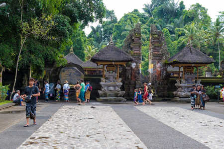 where to go: Bali, Indonesia - May 1, 2017: Tirta Empul Temple is a Hindu Balinese water temple famous for its holy spring water, where Balinese Hindus go for ritual purification near Tampaksiring, Bali, Indonesia Editorial