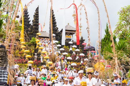 Bali, Indonesia - May 1, 2017: Religious procession at Pura Besakih, the most important, the largest and holiest temple of Hindu religion in Bali near Besakih village, Bali, Indonesia