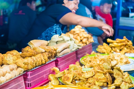 Bali, Indonesia - May 8, 2017 : Gianyar Night Market is a top destination for hungry locals and tourists, offering a large variety of traditional balinese food in Gianyar province, Bali, Indonesia Editorial