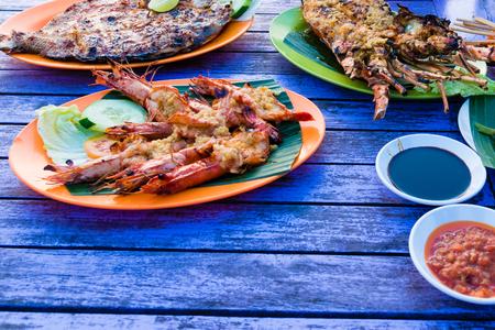 Traditional balinese sea food in Bali, Indonesia Stock Photo