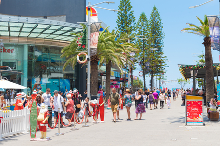 Surfers Paradise, Queensland, Australia-December 23, 2017: Street view at Surfers Paradise, the Gold Coast's entertainment and tourism centre with beachside shopping, dining, bars and clubs.