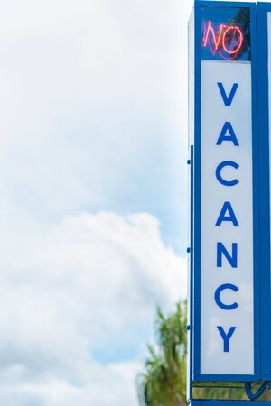 No Vacancy motel sign. Tourism concept with copy space for creative projects