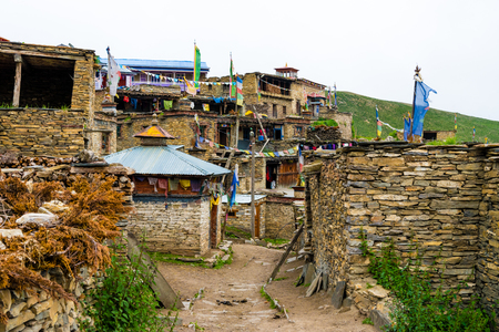 Nar village, Annapurna Conservation Area, Nepal - July 21, 2018 : Traditional architecture in the ancient Tibetan Nar village, Annapurna Conservation Area, Nepal