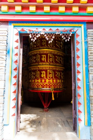 Ngawal village, Annapurna Conservation Area, Nepal - July 24, 2018 : Prayer wheels in Tibetan Buddhist tradition are used to accumulate wisdom and merit and to purify negativities 에디토리얼