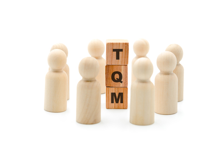 Wooden figures as business team in circle around acronym TQM Total Quality Management, isolated on white background, minimalist concept
