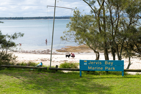 Huskisson, NSW, Australia-December 22, 2018: View over the beach in Jervis Bay Marine Park, city of Huskisson, NSW, Australia, a small coastal town well known as gateway to Jervis Bay area