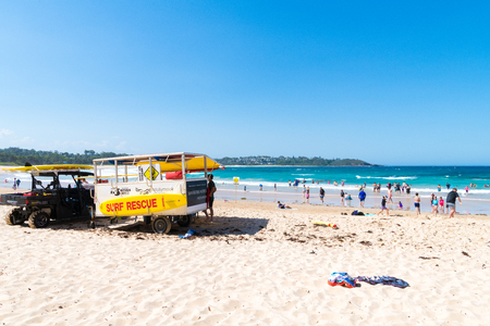 Mollymook Beach, NSW, Australia-January 4, 2019: People enjoying the sunny weather at Mollymook Beach, a wonderful seaside escape and perfect getaway on the NSW South Coast, Australia