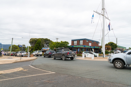 Eden, NSW, Australia-January 2, 2019: Street view in the city of Eden, a coastal town in the South Coast of NSW, Australia, known for best whale-watching spots, fishing, bushwalking and snorkelling