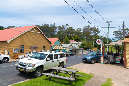Tilba, NSW, Australia-December 27, 2018 : Street view in the historical city of Tilba, classified by the National Trust as the Central Tilba Conservation Area, in New South Wales, Australia