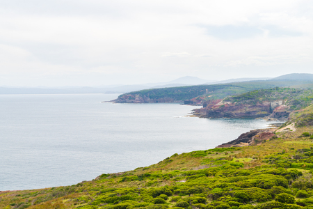 View over remote Green Cape Headland coastline, located in Ben Boyd National Park, NSW, Australia. 版權商用圖片