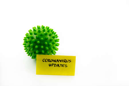 Closeup on green spiky ball as coronavirus representation and post-it note with Coronavirus Updates handwritten message isolated over white background, minimalist abstract concept
