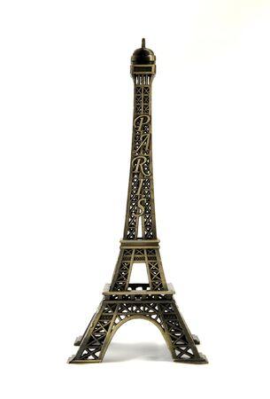 Metal eiffel tower model on white background Stock Photo - 5342925