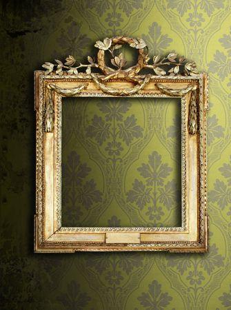 Gold ornate frames & retro wallpaper Stock Photo - 6533583