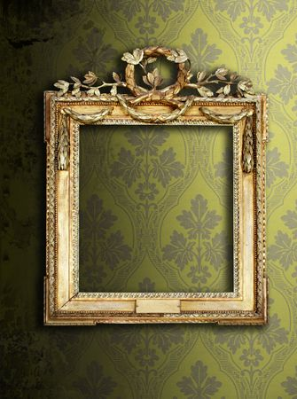 Gold ornate frames & retro wallpaper Stock Photo