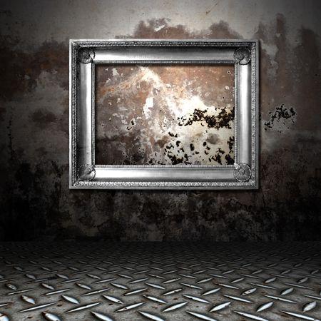 Silver Frame in einem dunklen grungy Raum Standard-Bild - 6744872