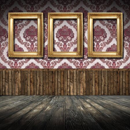 Old Styled Interior with golden frames photo