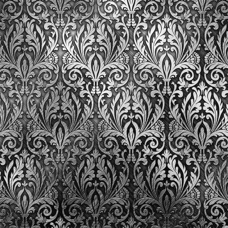 Silber Metall-Teller mit klassischen ornament Standard-Bild - 7870450