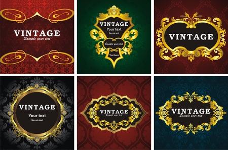 6 vintage style frame Illustration