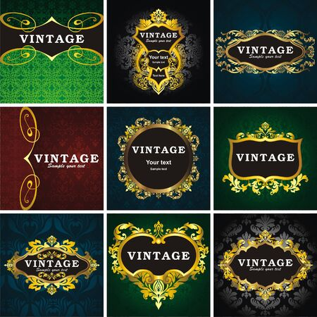 9 vintage style frame Stock Vector - 8576305