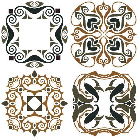 4 art nouveau wallpapers background Vector
