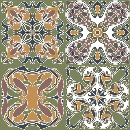 4 art nouveau wallpapers background