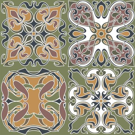 4 art nouveau wallpapers background