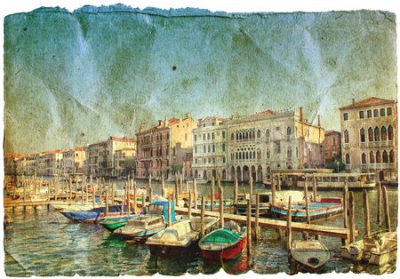 beautiful channels of Venice- retro styled picture  photo