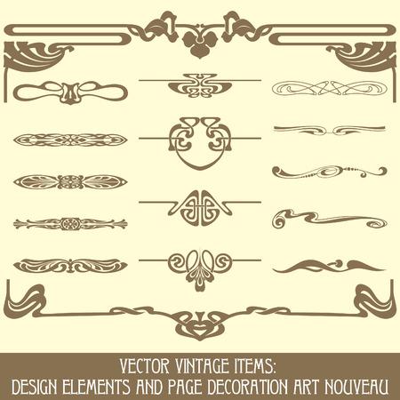 stile liberty: Vector pezzi vintage: elementi di design e decorazione di pagina