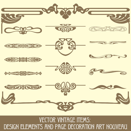 art noveau: vector vintage items: design elements and page decoration