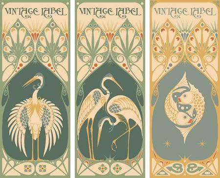 古美術品: ヴィンテージ ラベル: 魚および家禽  イラスト・ベクター素材