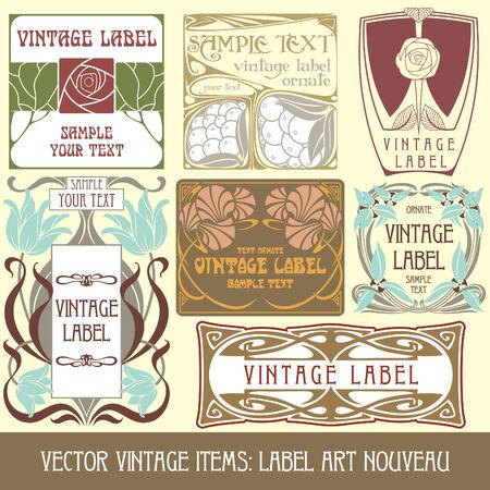 vector vintage items: label art nouveau Stock Vector - 8621438