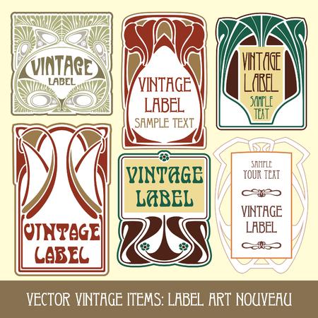 vector vintage items: label art nouveau Vector