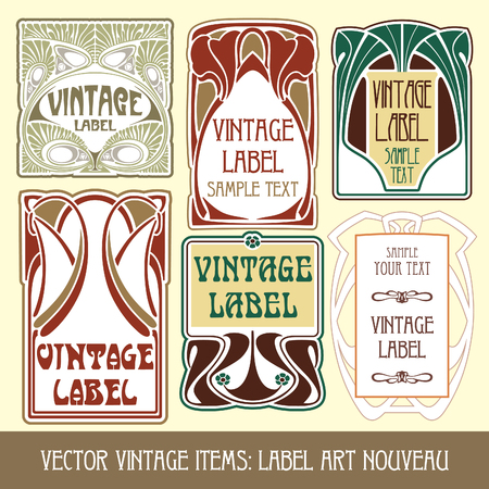 tradition art: vector vintage items: label art nouveau