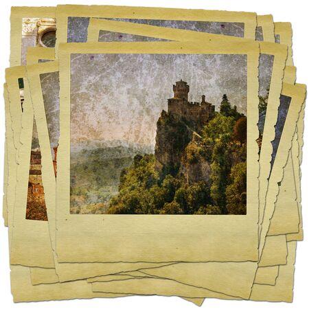 sammarinese: San Marino - collage di foto di stile retr�