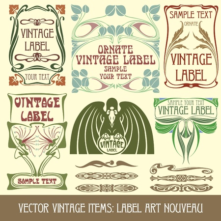 art nouveau: Vector pezzi vintage: etichetta Liberty