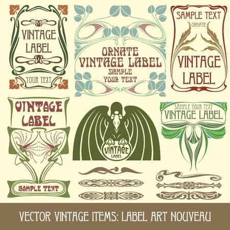 Vektor-Vintage Elemente: Jugendstil beschriften Standard-Bild - 9413507