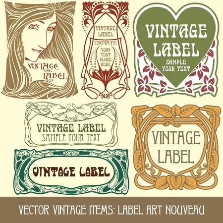 nouveau:  vintage items: label art nouveau Illustration