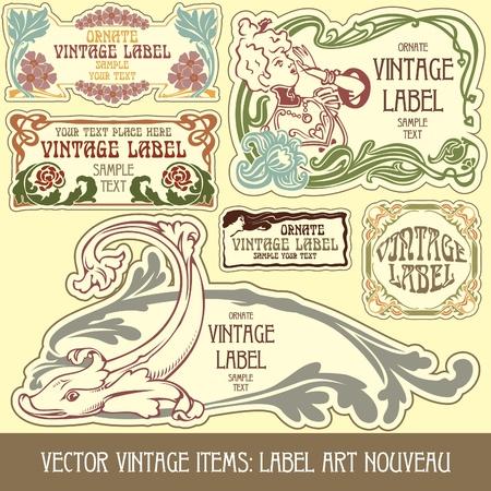 stile liberty: vintage: etichetta art nouveau