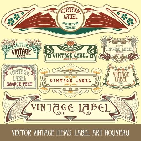 elementos Vintage: etiqueta art nouveau