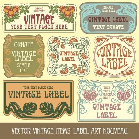 vintage items: label art nouveau Stock Vector - 10475518