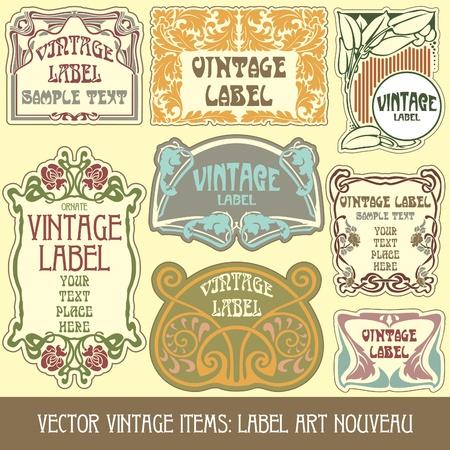 art nouveau:  pezzi vintage: etichetta Liberty Vettoriali
