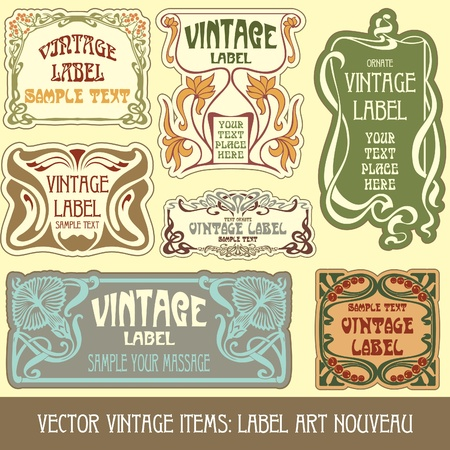 vintage items: label art nouveau Stock Vector - 10475519