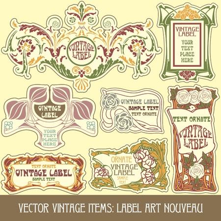 古美術品: ベクトルのヴィンテージのアイテム: アール ヌーボーのラベル  イラスト・ベクター素材