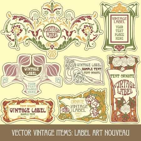 art nouveau frame: vector vintage items: label art nouveau