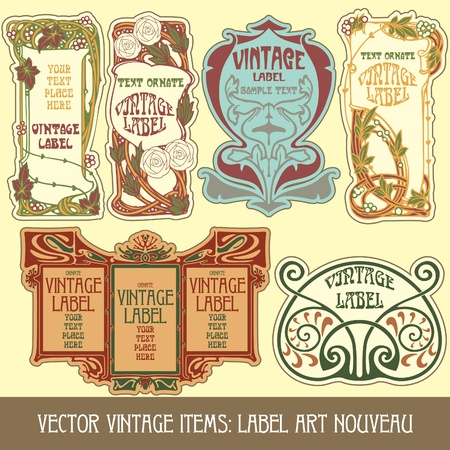 stile liberty: articoli vettoriale vintage: etichetta art nouveau